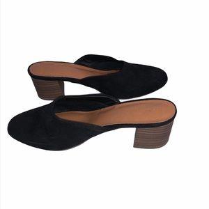 Black heeled mules size 7.5